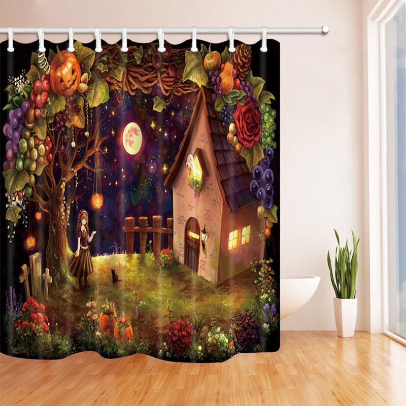 halloween theme bathroom decor waterproof fabric shower curtain bathroom decoration gfit