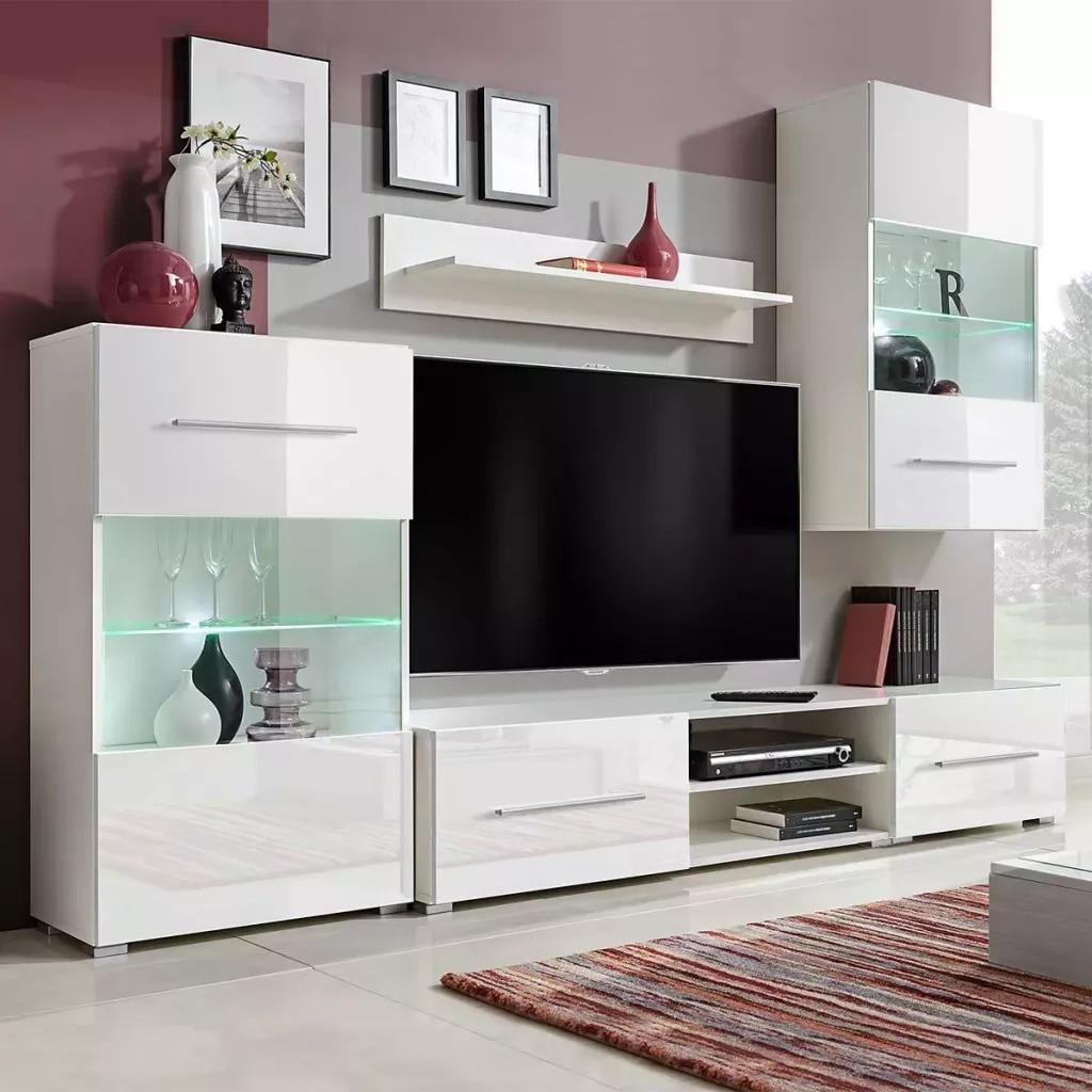 VidaXL Wall-Mounted TV Stand With LED Light 5Pcs Wall Cabinet Standing Cabinet Wall Shelf TV Wall Decoration Storage Shelf