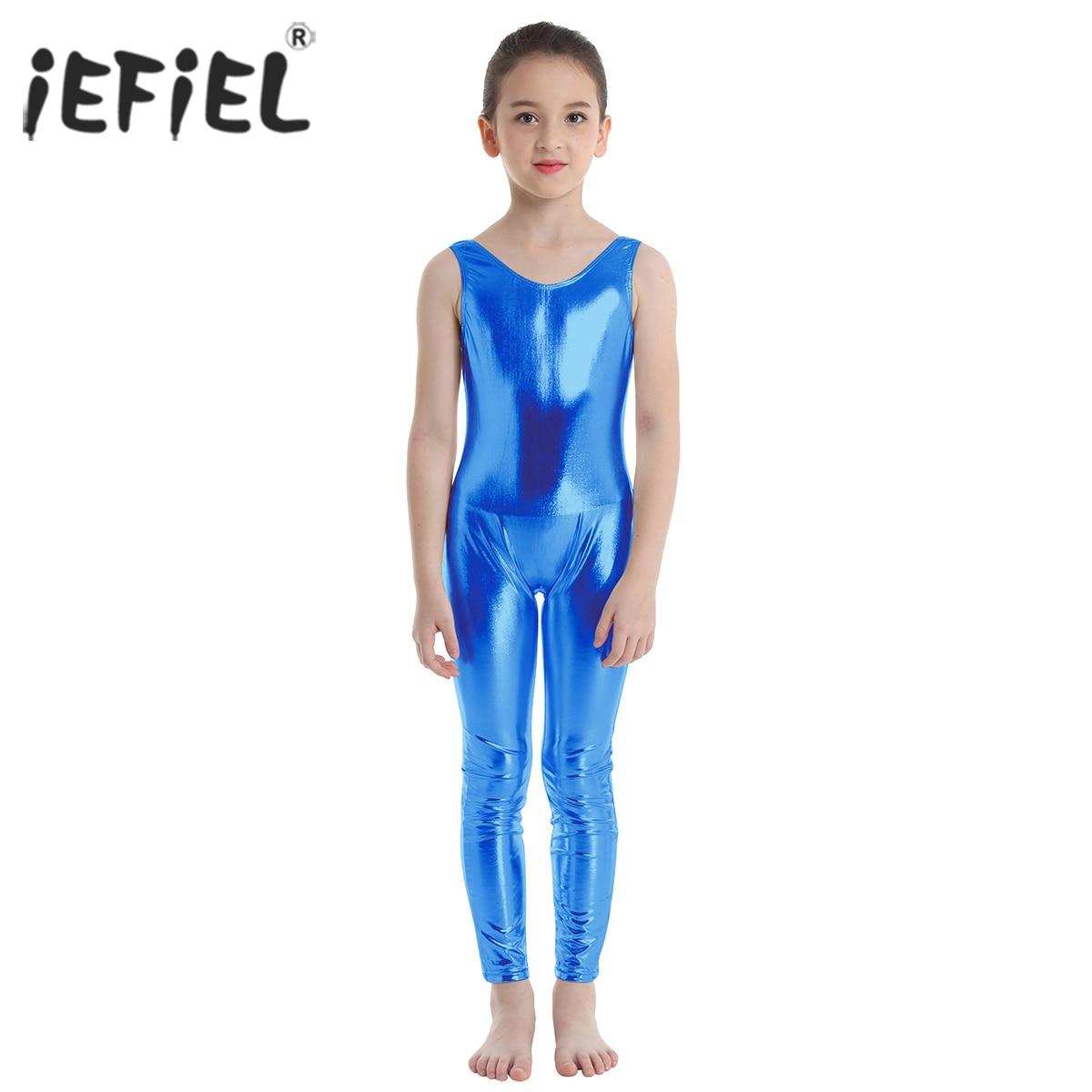 Kid Girl Ballet Dance Leotards Gymnastics Jumpsuits Sports Unitard Shiny Costume