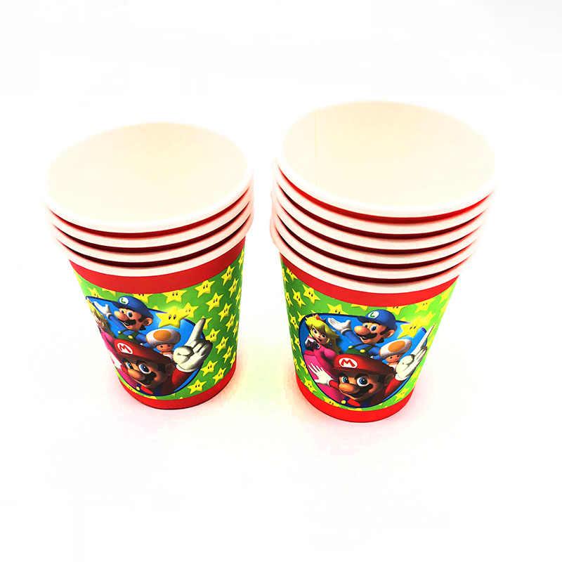 סופר מריו מסיבת יום הולדת חד פעמי צלחות כוס מפיות קשיות מריו Bros מסיבת קישוטי בלוני דגל/באנרים ספקי צד