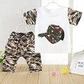 2016 Niños Ocasionales Del Bebé Niños Ropa de Camuflaje Camisetas Summer Set Soldados Regulares Ropa Corta de Algodón T-Shirt + Pants Conjuntos