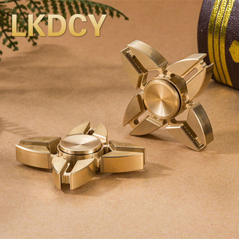 LKDCY / / fingertips gyro EDC decompression gyro Fidget Spinner pure copper four leaf refers to between the toys Focus Fidget tri fidget hand spinner triangle metal finger focus toy adhd autism kids adult toys finger spinner toys gags