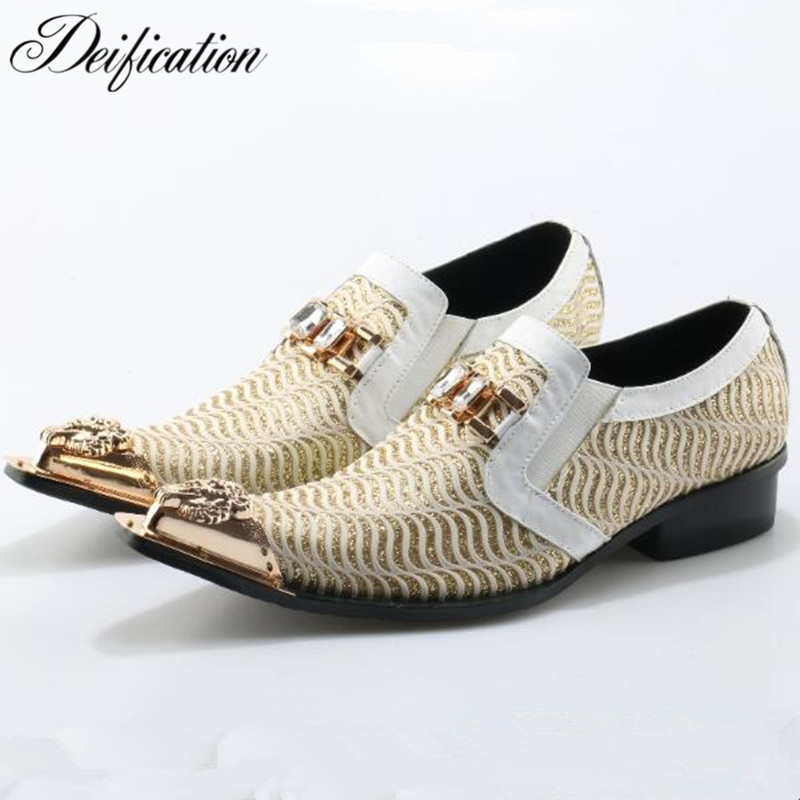 Deification Split Leather Crystal Studded Men Dress Shoes Pointed Toe Designer Luxury Men Shoes Slip On Men Wedding Dress Shoes