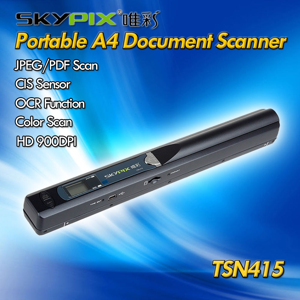 Skypix TSN415 Portable A4 Scanner Handheld Document Scanner A4/A5 Size HD 900 DPI OCR Scanner JPG/PDF Photo Book Scanner Office skypix tsn470 a02 hd 1050dpi portable a4 document scanner jpg pdf file scanner with stand and free 8gb sd card