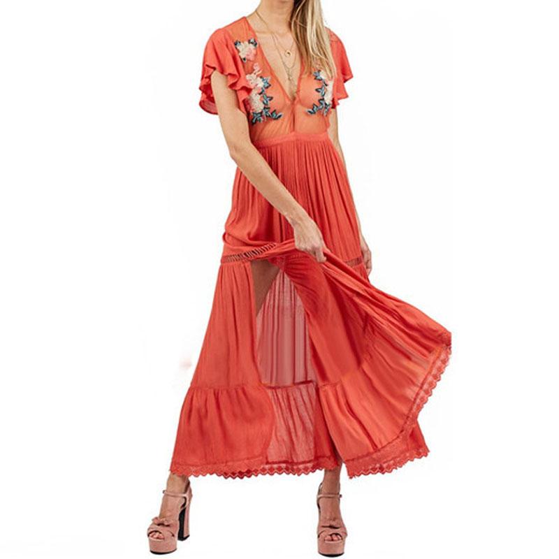 Sexy Rouge Boho Robe de 2018 Nouvelles Femmes Floral Broderie Ethnique Perspective Split Hippie Chic Femelle Plage Robes Longues Robes
