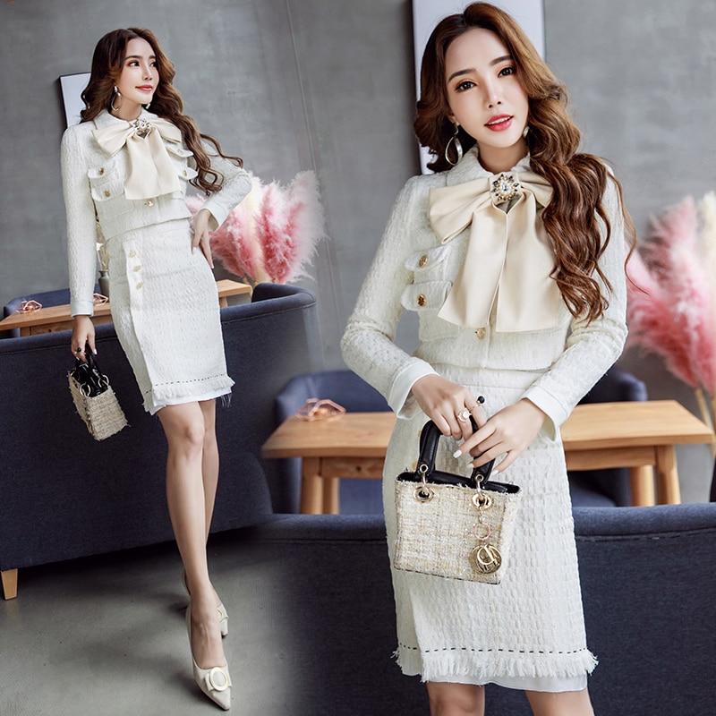 De Milky Rétro Femmes Jupe Version pièce Costume Coréenne Automne Haute Un Nouveau Deux Arc Printemps Jq150 avec Doux Tweed Et Taille White Du Hippie w47xqIA