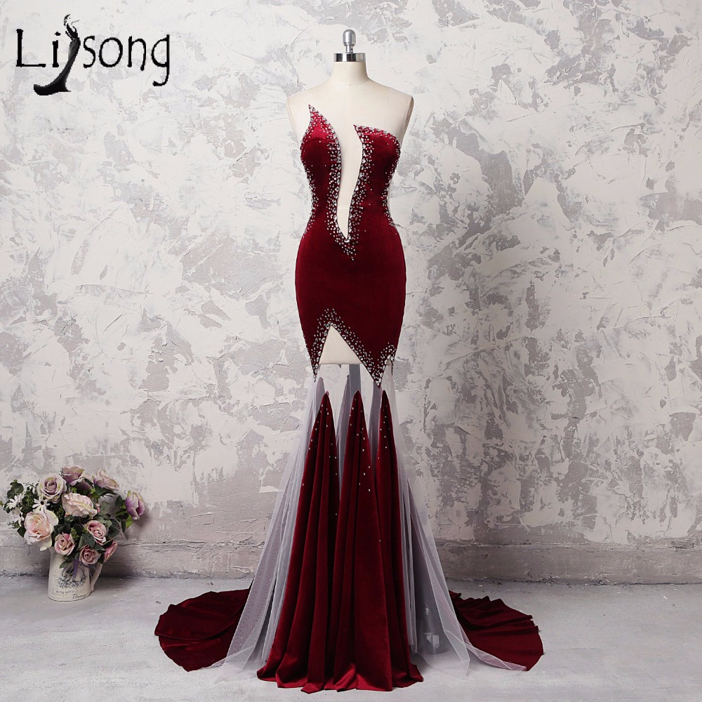 Sexy Wine Red Velour Mermaid Long Prom Dresses Sheer Back Crystal Cut Out Prom Gowns Aso