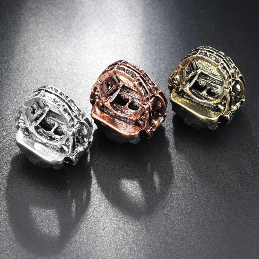 Kinelหินธรรมชาติแหวนเครื่องประดับวินเทจโบราณเงิน/Rose G Oldที่ไม่ซ้ำพังก์ร็อกคริสตัลยืดแหวนขายส่งD Ropshipping