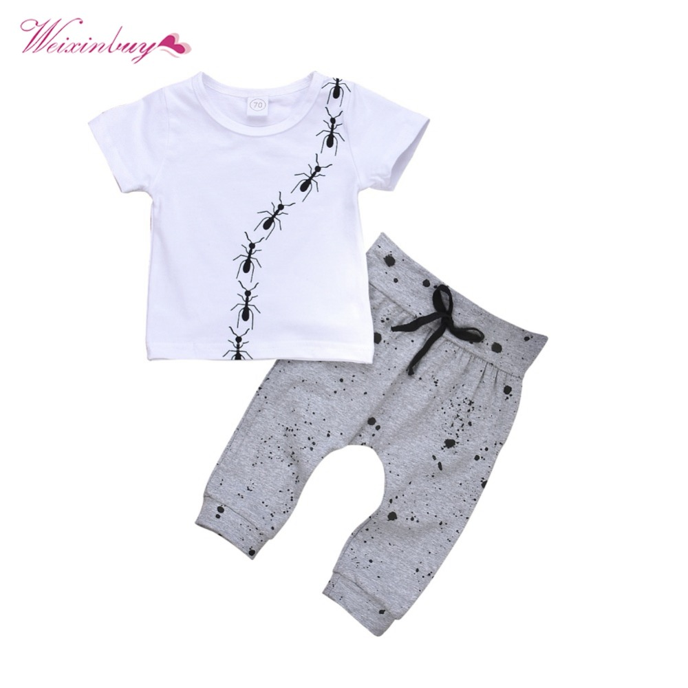 WEIXINBUY Newborn Baby Boy Clothes Summer Cotton T-shirt Tops +Geometric Pant Outfit Toddler 3D Ant Print Kids Clothing Set t shirt tops cotton denim pants 2pcs clothes sets newborn toddler kid infant baby boy clothes outfit set au 2016 new boys