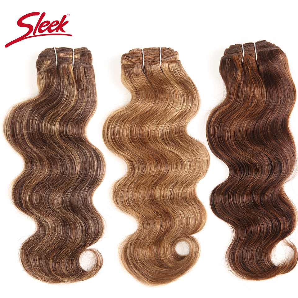 Sleek Colorful Hair Extension Double Drawn Natural Body Wave Hair Brazilian Body Wave Human Hair Weave Bundles Remy Human Hair(China)