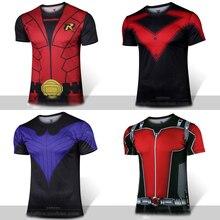 Etq огонь героев мужские Ant Man Робин Nightwing желтая куртка футболка полиэстер костюм короткий рукав Футболка унисекс Топы и футболки