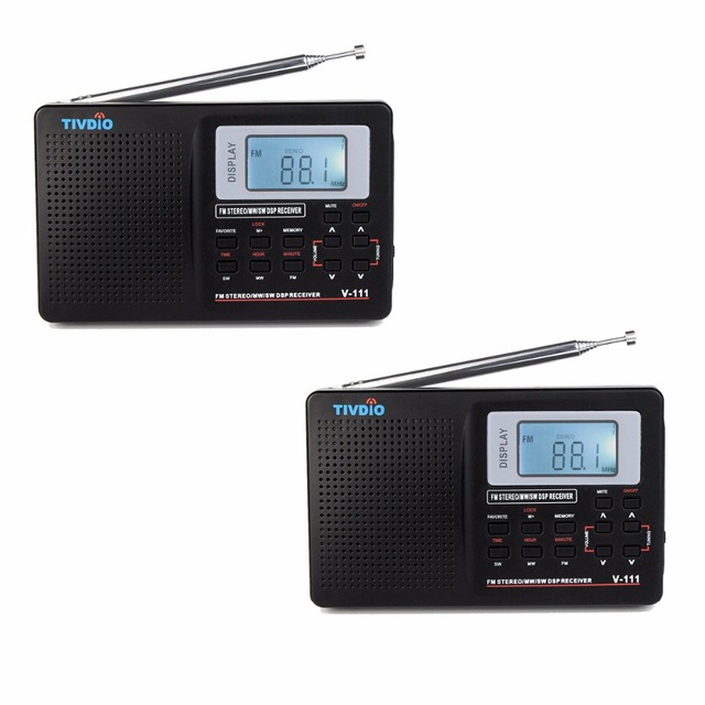 2 pcs TIVDIO V-111 Portátil DSP Stereo FM/MW/SW/LW/TV Rádio Multibanda Rádio Digital receptor de Alarme Relógio F9201B