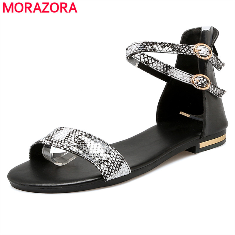 MORAZORA Plus size 34-43 new women sandals genuine leather +Pu flat summer shoes woman fashion shoes black white color