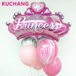 Image 1 - 1 adet büyük elmas taç folyo helyum balonları altın siyah pembe mavi Globos bebek duş prenses kız doğum günü partisi dekor malzemeleri