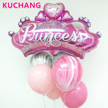 1pc Large Diamond Crown Foil Helium Balloons Gold Black Pink Blue Globos Baby Shower Princess Girl Birthday Party Decor Supplies