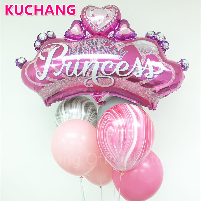 1pc Large Diamond Crown Foil Helium Balloons Gold Black Pink Blue Globos Baby Shower <font><b>Princess</b></font> Girl Birthday <font><b>Party</b></font> Decor Supplies image