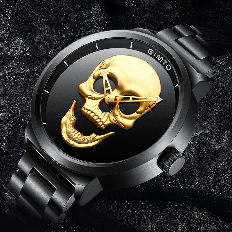 GIMTO Top Brand Big Skull Men Watch Luxury Quartz Wristwatch Black Steel Clock Cool Boy Male Military Watches relogio masculino gimto top brand luxury men watch leather military male watches big dial calendar quartz wristwatch sport clock relogio masculino