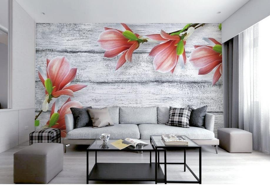 ФОТО customize 3d wallpaper walls Gray wood grain Magnolia flower papel de parede do desktop mural wallpaper 3d