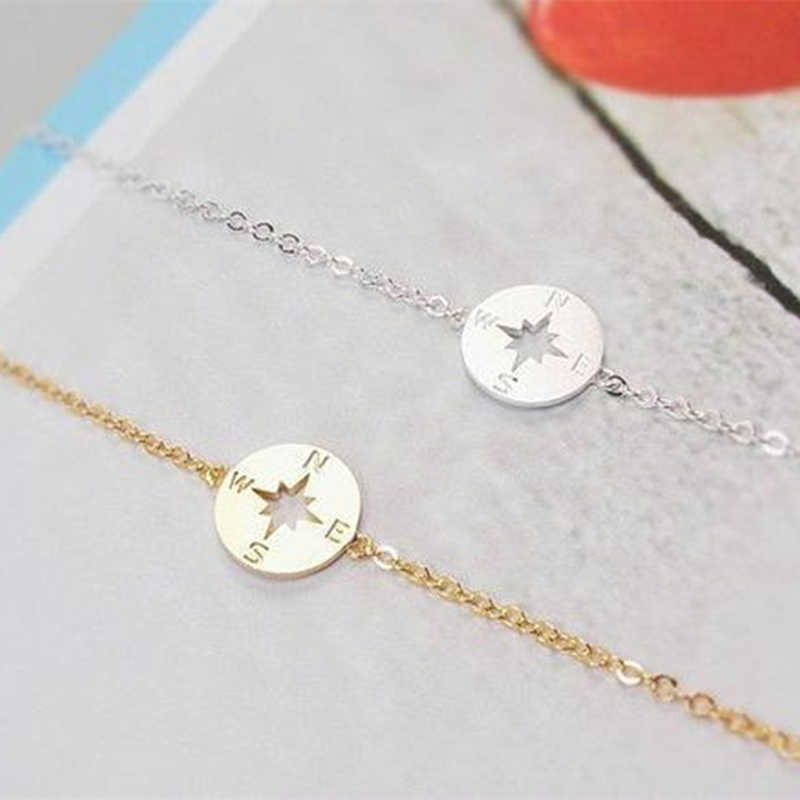 Dainty Disc Bracelet Minimalist Jewelry Rose Gold Compass Bracelets For Women Stainless Steel Chain Best Friend Gift 2019