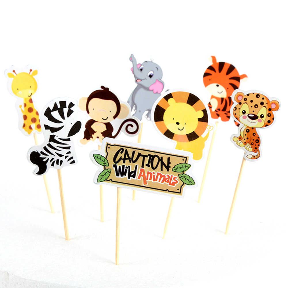 8pcs/set cute Zoo Card Baking Cake Insert Card Baking Decoration Card children birthday cake card baking Kitchen Accessories