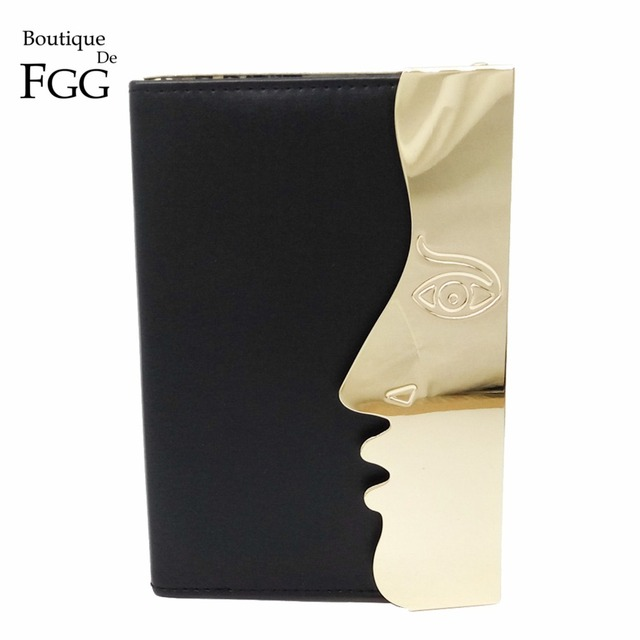 Famous Brand Women's PU & Metal Face Black Evening Wedding Clutch Bag Ladies Crossbody Shoulder Handbags Hardcase Clutches Purse