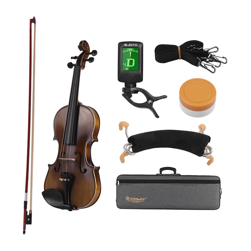 STARWAY 4/4 Classical Violin Premium Spruce High Quality Ebony with Oxford Cloth Box Tuner Kit SDW-094