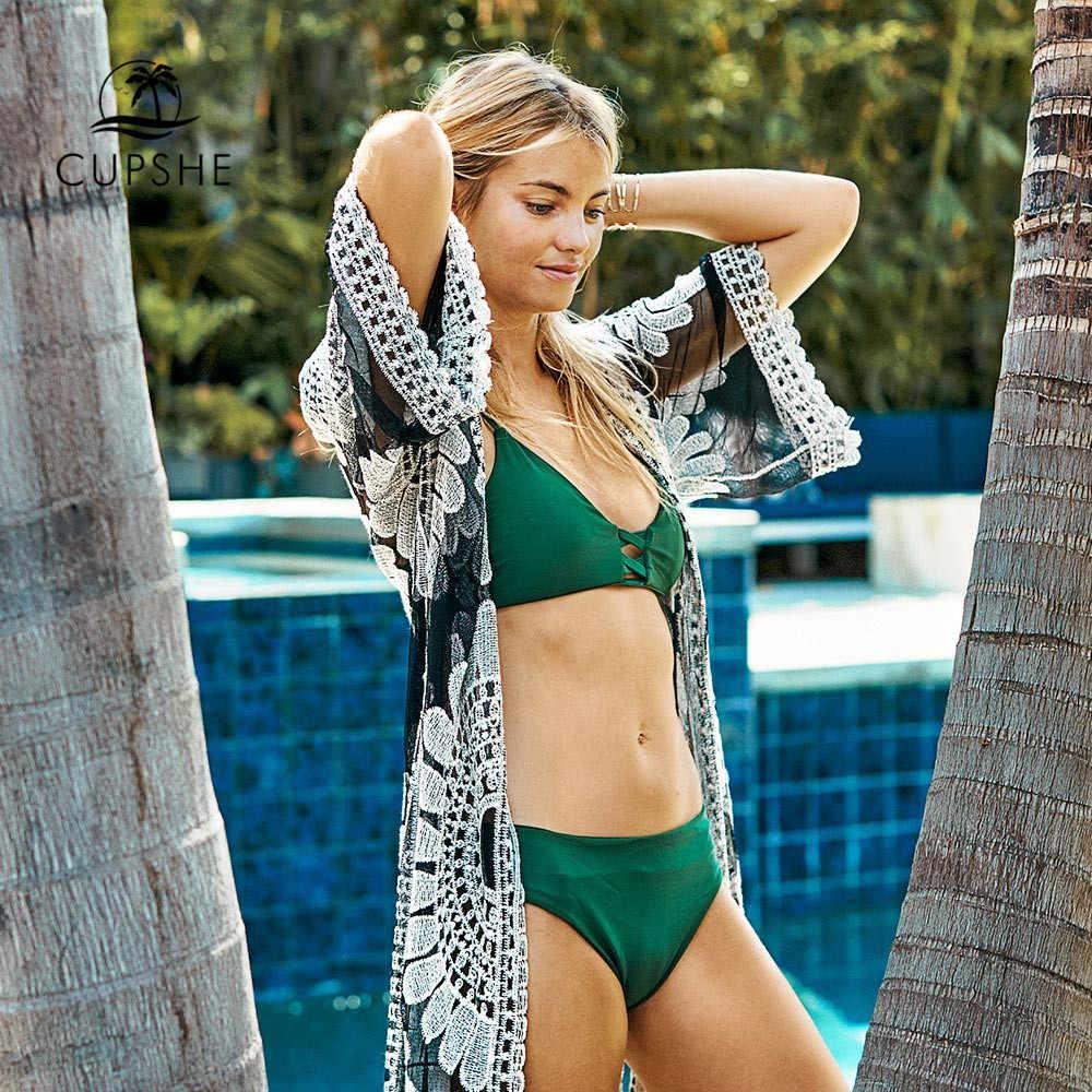 Cupshe preto girassol crochê biquíni cobrir sexy maiô praia vestido feminino 2020 verão maiô beachwear túnica camisa