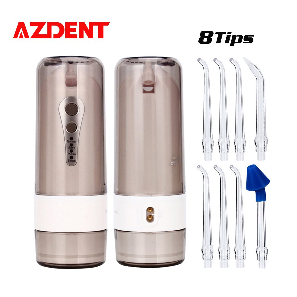 AZDENT 8 Tips 4 Modes Oral Irrigator Collapsible Water Dental Flosser Electric USB Charger Portable Fold Irrigation Floss 200ml azdent fashion 4 modes portable fold electric oral irrigator usb charging water dental flosser rechargeable 200ml 5 jet tips