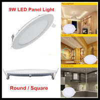 10PCS 9W Panel Light AC85 265V LED Ceiling Lights Downlights Round Square Ultra Thin LED Panel