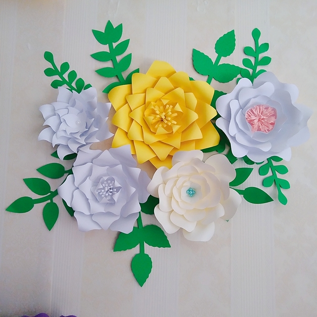 Us 34 5 25 Off Ready Giant Paper Rose Flower Templates With Tutorial For Wedding Backdrop Baby Nursery Fashion Trade Show With Leaves In Artificial