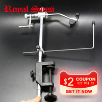 Royal Sissi silver grade rotary fly Tying Vise with C Clamp strengthened Hard Jaws 360 degree rotation precision fly tying tools