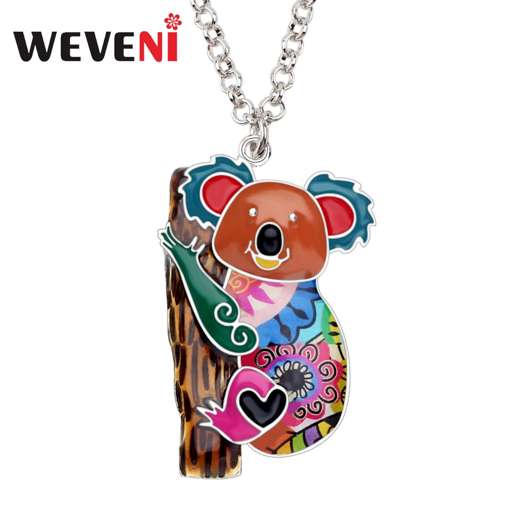 WEVENI Statement Enamel Alloy Australia <font><b>Koala</b></font> <font><b>Bear</b></font> Necklace Chain Pendant Animal <font><b>Jewelry</b></font> For Women Girls Teens Gift Accessories image