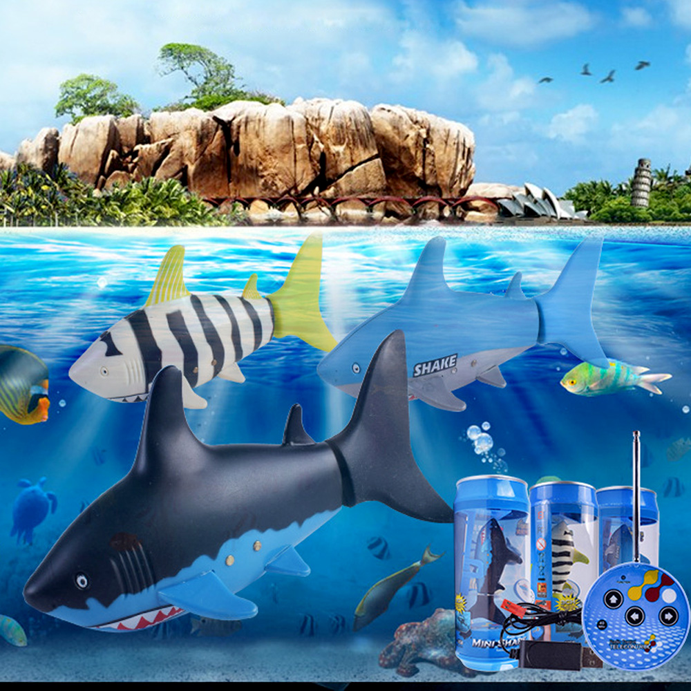Funny Mini Remote Control Shark Toy Swim In Water Electric RC Fish Can Toy For Kid Children Toddlers Gifts