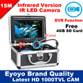 """Eyoyo Original 15 M HD 1000TVL Cámara Pesca Submarina Buscador de Los Pescados Profesional Grabadora de Vídeo DVR 7 """"w/Infrared IR luces LED"""