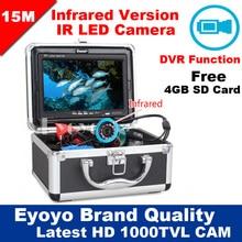 """Eyoyo Original 15 M Underwater Camera Pesca Fish Finder HD 1000TVL Profissional Gravador de Vídeo DVR 7 """"w/IR Infrared luzes LED"""