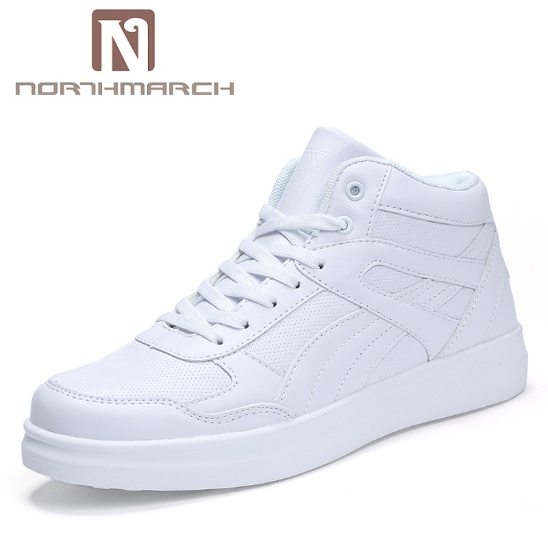 NORTHMARCH Fashion Spring Leather Shoes Men Breathable Casual Shoes Men White Comfortable High-Top Men Sneakers Chaussures Homme