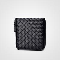 New sheepskin woven wallet female short Korean Edition female zero purse zipper Purse Mini lady bag