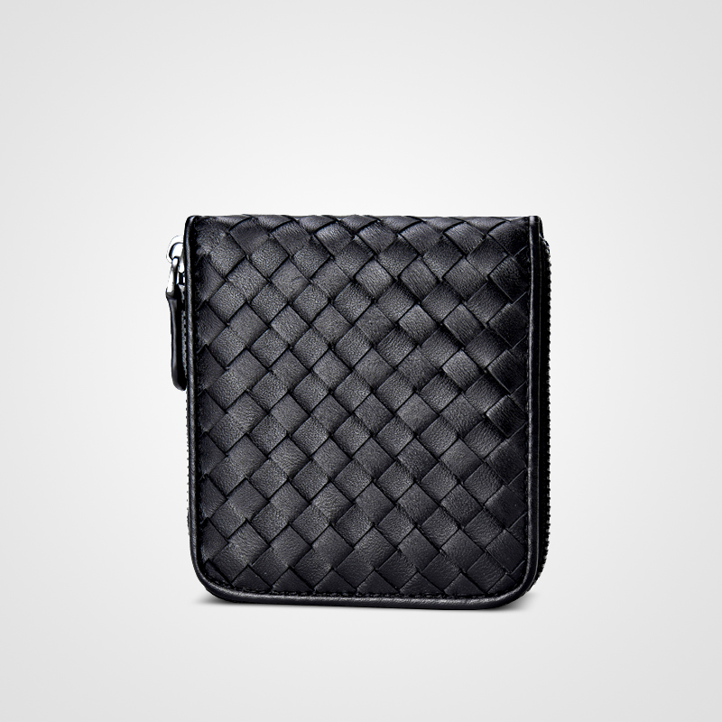 Nouveau portefeuille en peau de mouton tissé femme courte édition coréenne femme zéro sac à main fermeture à glissière sac Mini dame