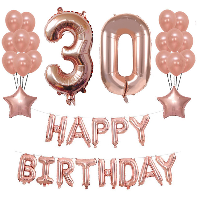 30th Birthday Rose Gold Air Ballons Heart Foil 40th 50th 60th Decoration Party Adult Anniversary Supplies