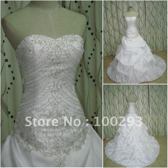 JJ2649  Free Shipping Newest Wholesale Beaded  embroidery ball gown bridal wedding gown 2012