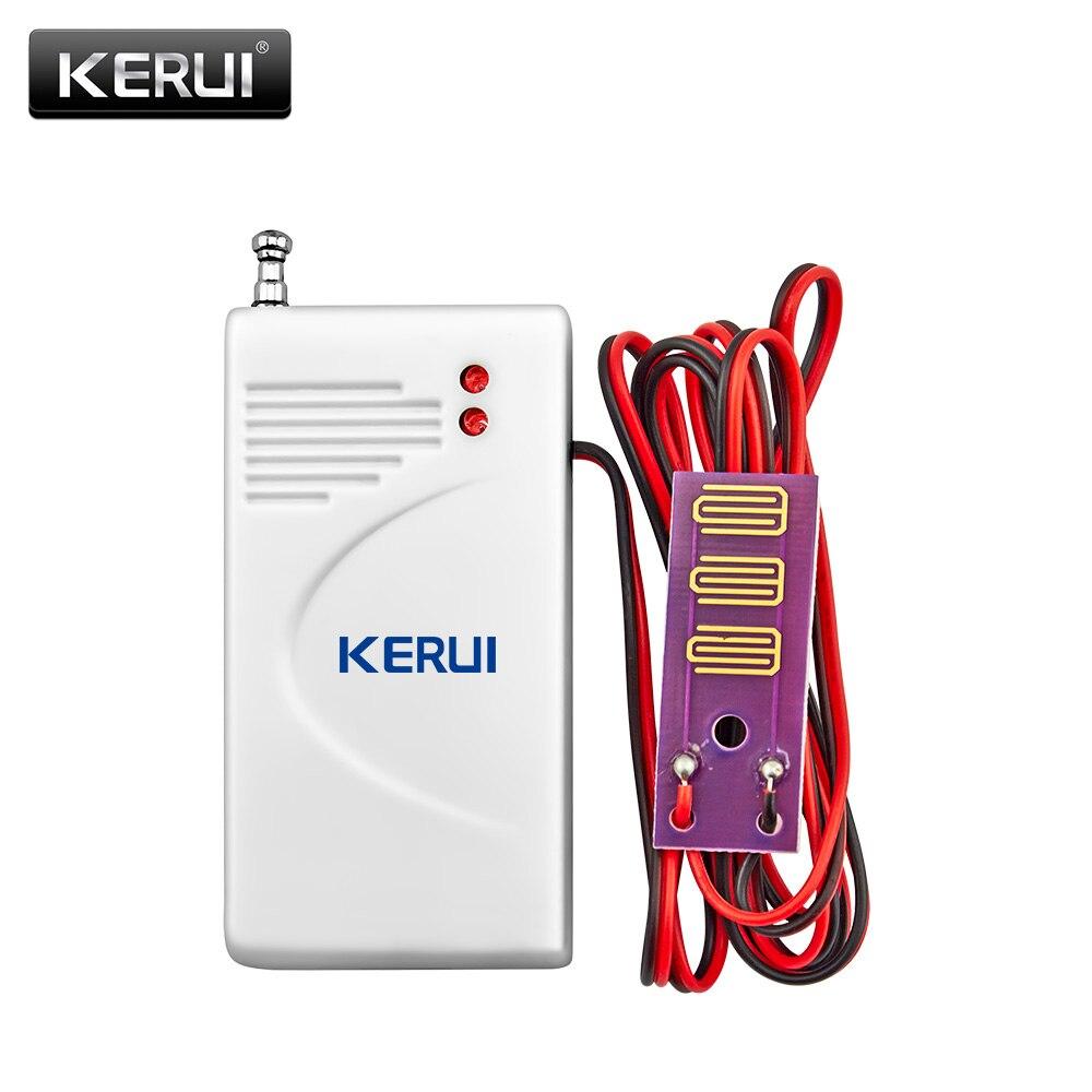 Kerui hight qualidade sem fio sensor de vazamento de água para a segurança em casa gsm/pstn sistema de alarme 433 mhz alarme alerta detector sistema