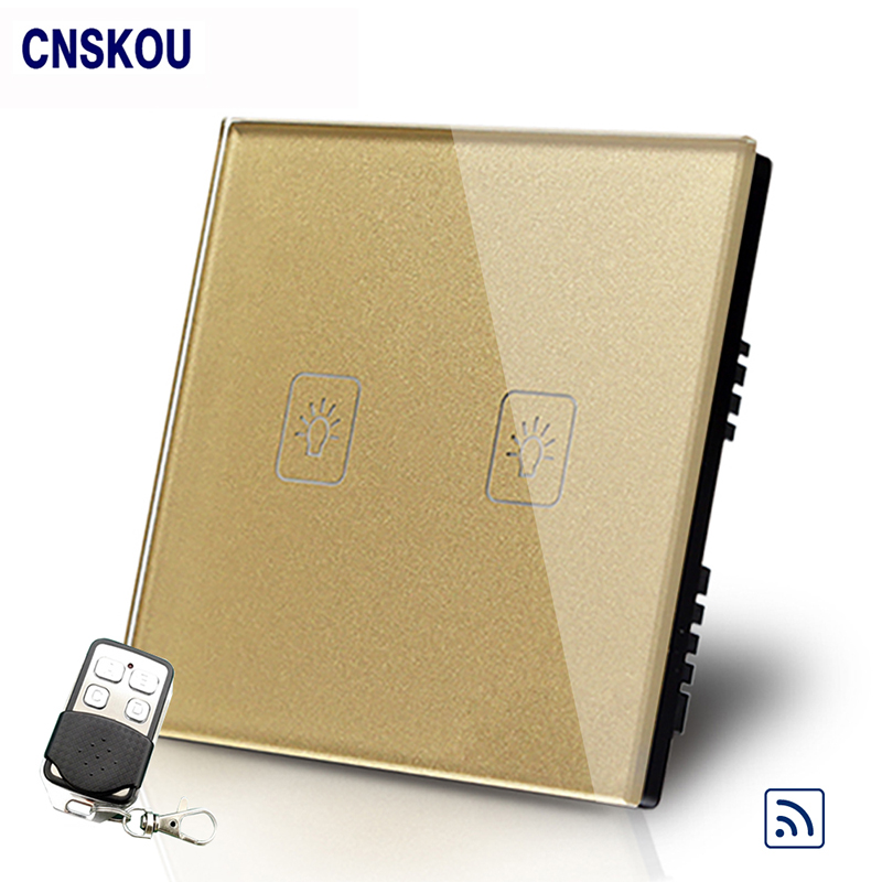 Cnskou  UK Standard 2Gang Remote Touch Switches Golden Crystal Glass+LED Panel Wall Light Switch&Remote Controller cnskou us standard 2gang smart remote touch switch wall light switch control for led lamp white crystal glass panel manufacturer