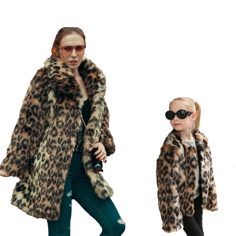Leopard Faux Fur Coat Women Autumn Winter Thicken Warm Long Overcoat Outerwear Elegant Sexy Fake Fur Coats Mother Daughter 11