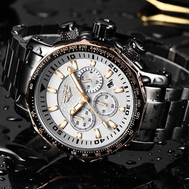 LIGE Mens Watches Top Brand Luxury Fashion Quartz Clock Mens Waterproof Big Dial Watch Men Military Sport Watch Erkek Kol Saati