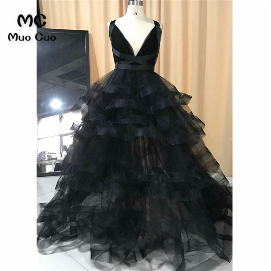 New 2018 Black   Prom     dresses   with Organza Ruffles V-Neck Tank long graduation   dresses   Backless Evening   Prom     Dress   Custom Made