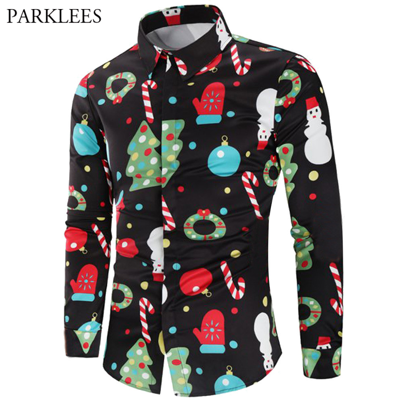 Funny Christmas Print Shirt Men Casual Slim Fit Long Sleeve Mens Black Dress Shirts Hip Hop Streetwear Xmas Party Costume Blouse