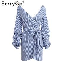 BerryGo Deep v neck long sleeve women dress shirt Sexy off shoulder bow tie plaid dress Stripe short vestidos summer wrap dress