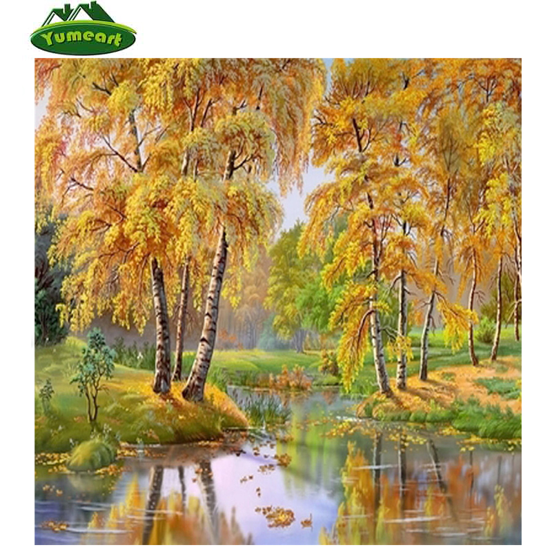 New DIY 5D Diamond Embroidery Landscape Autumn Tree River Painting Rhinestones Mosaic kit Cross stitch Fall Picture of Crystals