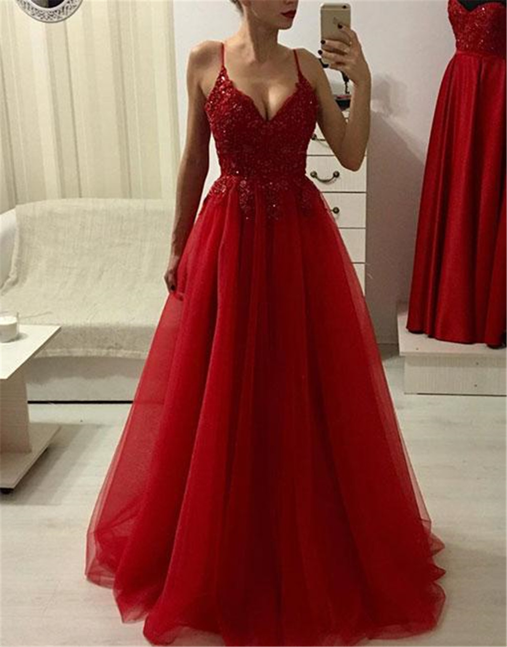 Red Tulle Long Evening Dress Sexy Spaghetti Strap A Line Beaded Appliques Cheap Prom Gown 2019 Custom Made Special Occasion Gown