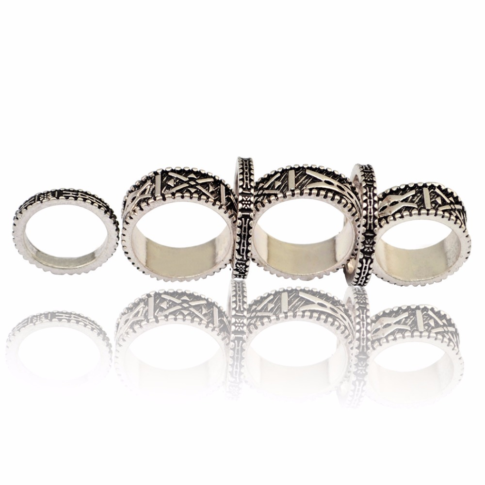 6Pcs/set Bohemian Punk Antique Silver Carved Finger Ring Gypsy Joint Knuckle Nail Midi R ...